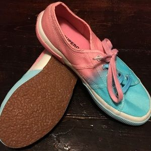 Blue and pink Superga shoes